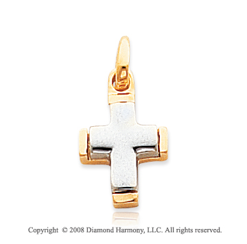 Small 14k Two-Tone Fine Edges Cross Pendant