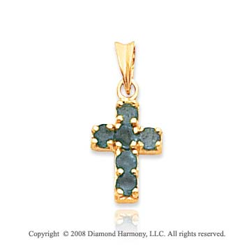14k Yellow Gold Gorgeous Emerald Cross Pendant