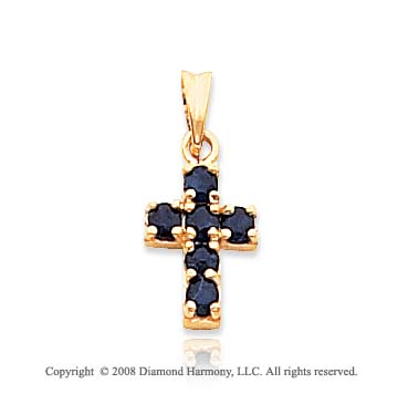 14k Yellow Gold Gorgeous Sapphire Cross Pendant