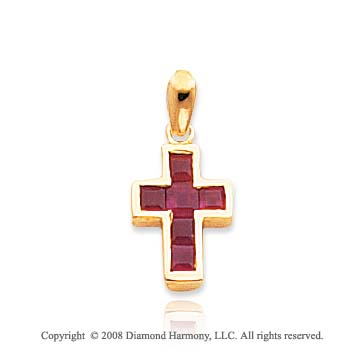 14k Yellow Gold Elegant Princess Cut Ruby Cross Pendant