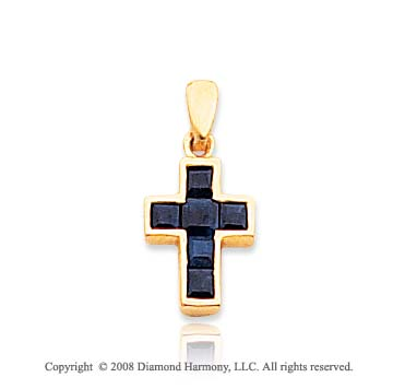 14k Yellow Gold Elegant Princess Cut Sapphire Cross Pendant