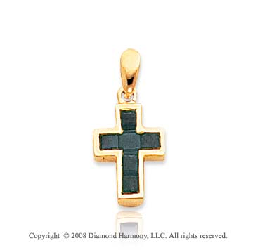 14k Yellow Gold Elegant Princess Cut Emerald Cross Pendant