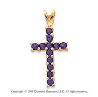 14k Yellow Gold Simple Elegance Amethyst Cross Pendant