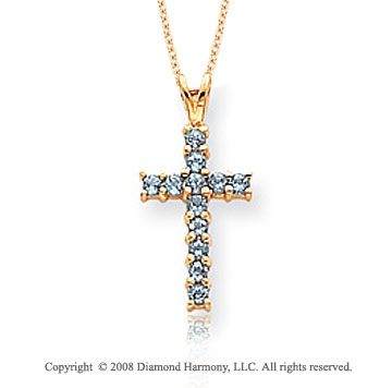 14k Yellow Gold Simple Elegance Blue Topaz Cross Pendant
