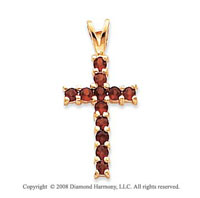 14k Yellow Gold Simple Elegance Garnet Cross Pendant