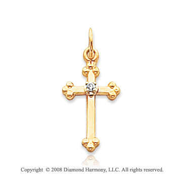 14k Yellow Gold Diamond Budded Cross Pendant