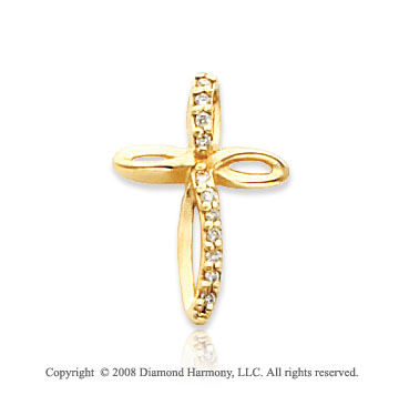 14k Yellow Gold Elegant Diamond Cross Pendant