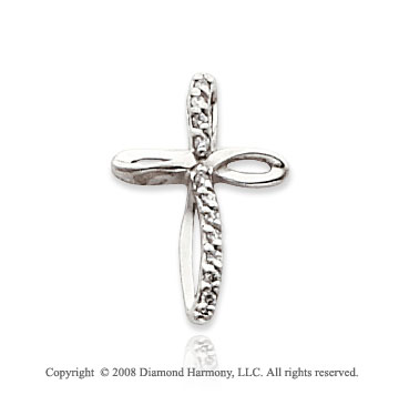 14k White Gold Elegant Diamond Cross Pendant
