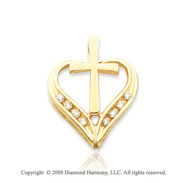14k Yellow Gold Treasured Cross/ Heart Pendant