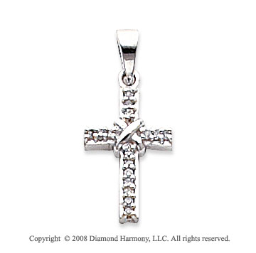 14k White Gold Simple Elegance Diamond Cross Pendant