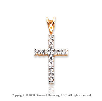 14k Yellow Gold Diamond Simple Cross Pendant
