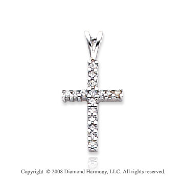 14k White Gold Diamond Simple Cross Pendant