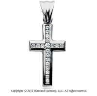 1/3 Carat 14k White Gold Diamond Cross Pendant