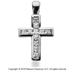 1/2 Carat 14k White Gold Diamond Cross Pendant