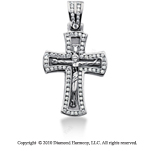 2 Carat 14k White Gold Diamond Cross Pendant
