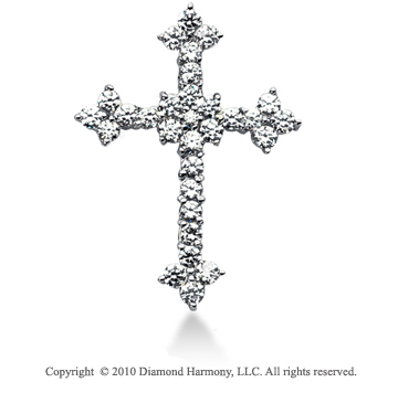 1 3/4 Carat 14k White Gold Diamond Cross Pendant