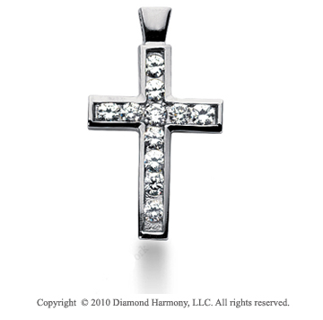 1 1/2 Carat 14k White Gold Diamond Cross Pendant