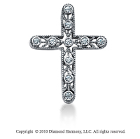 1/5 Carat 14k White Gold Diamond Cross Pendant