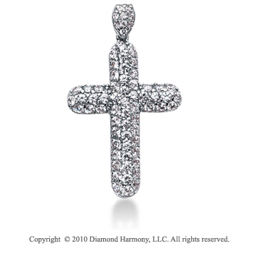 1 Carat 14k White Gold Diamond Cross Pendant