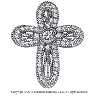 3/4 Carat 14k White Gold Diamond Cross Pendant