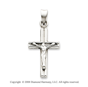 14k White Gold Small Carved Crucifix Cross Pendant