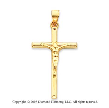 14k Yellow Gold Large Carved Crucifix Cross Pendant