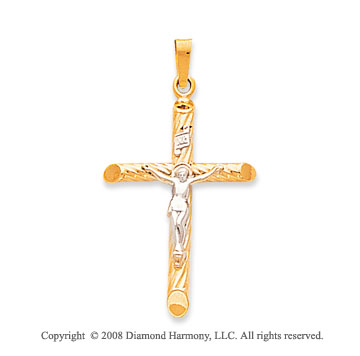14k Two-Tone Medium Carved Crucifix Cross Pendant