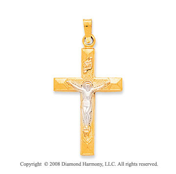 14k Two-Tone Medium Classic Crucifix Cross Pendant