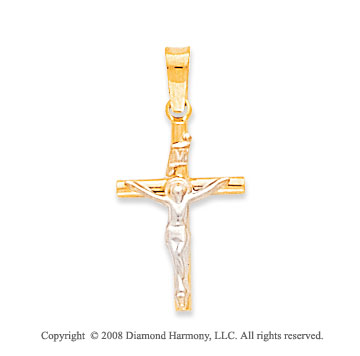 14k Two Tone Small Carved Crucifix Cross Pendant