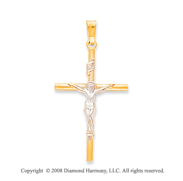 14k Two Tone Medium Classic Crucifix Cross Pendant