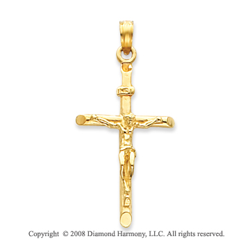 14k Yellow Gold Medium Classic Crucifix Cross Pendant