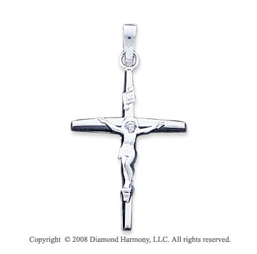 14k White Gold Medium Carved Crucifix Cross Pendant