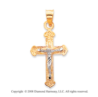 14k Two-Tone Small Carved Crucifix Cross Pendant