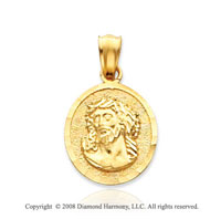 14k Yellow Gold Divine Face of Jesus Small Medal Pendant