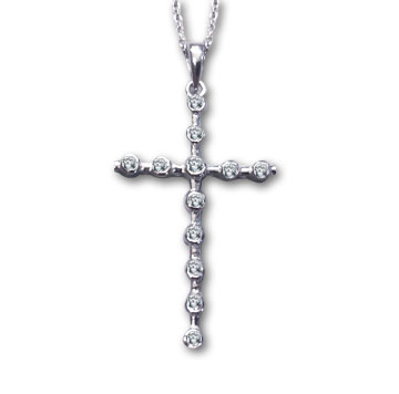 Sterling Silver 1 3/4 Inch Bezel Set Cubic Zirconia Cross