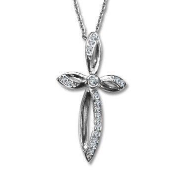 Sterling Silver 1 1/4 Inch Cubic Zirconia Cross Pendant