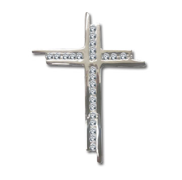 Men's 1 3/4 Inch Sterling Silver Cubic Zirconia Cross Pendant