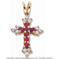 .55 Carat Diamond Ruby 14k Medieval Style Cross Pendant