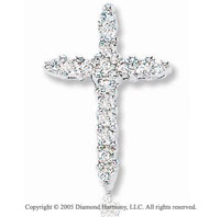 14k White Gold 14mm Round .15 Carat Diamond Cross Pendant