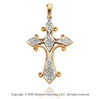14k Two Tone Gold Filigree 1/4 Carat Diamond Cross Pendant