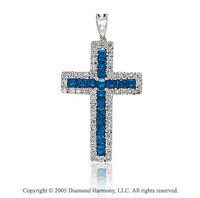 14k White Gold Blue Sapphire 1/4 Carat Diamond Cross Pendant