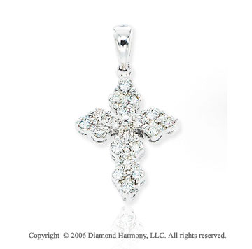 14k White Gold 1/2 Carat Diamond Cross Pendant