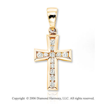 14k Yellow Gold 1/5 Carat Diamond Cross Pendant