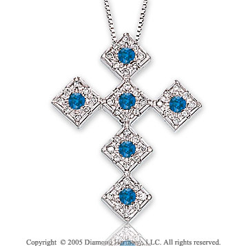 14k White Gold Blue Sapphire 2/5 Carat Diamond Cross Pendant