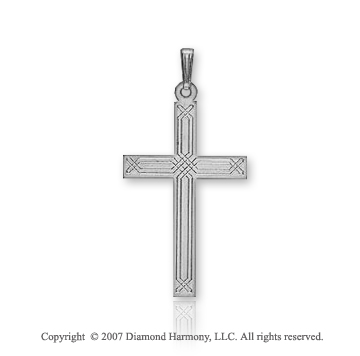 14k White Gold Classic Linear Style Small Cross Pendant