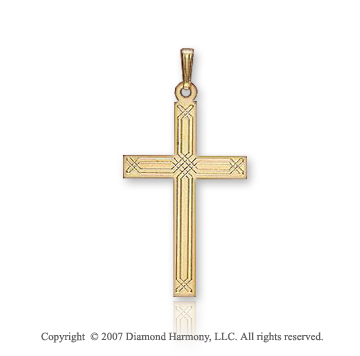 14k Yellow Goldold Classic Linear Style Small Cross Pendant