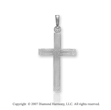 14k White Gold Classic Carved Pattern Small Cross Pendant