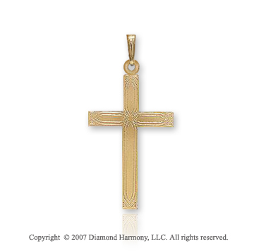 14k Yellow Goldold Classic Carved Pattern Small Cross Pendant