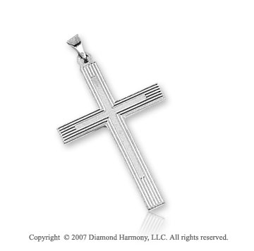 14k White Gold Carved Linear Style Small Cross Pendant