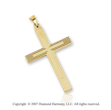 14k Yellow Gold Carved Linear Style Small Cross Pendant